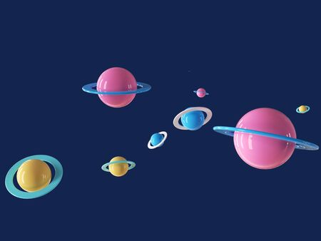 Colorful cartoon planet in blue deep universe. 3d rendering - illustration.
