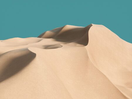 Abstract pure sand dune in desert under blue clear sky. 3d rendering - illustration.