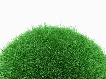 Green grass planet. Isolated on white. 3d rendering - illustration.