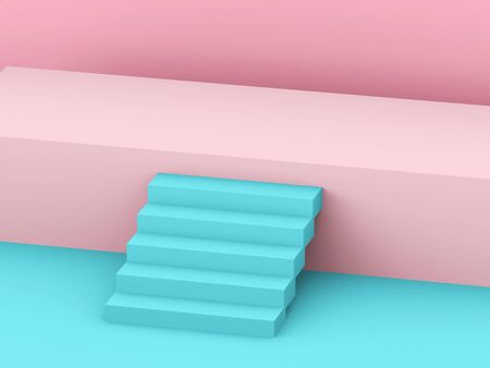 Pink show stage with blue stair. 3d rendering - illustration. Banco de Imagens