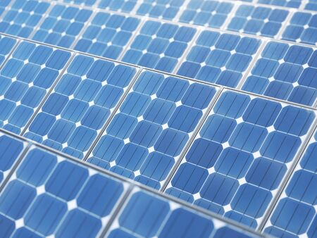 Details of solar panels. The concept of renewable energy and new energy. 3d rendering - illustration.