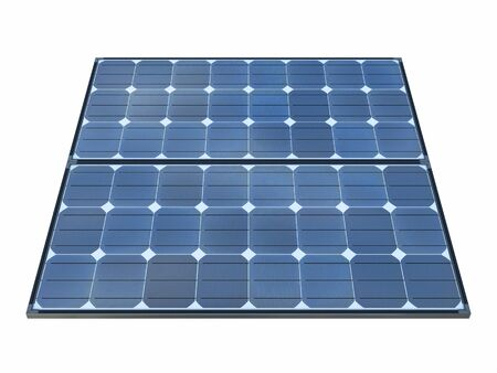 Isolated solar panels with white background. 3d rendering - illustration. Banco de Imagens