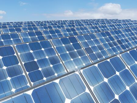 Solar panels with sky and clouds background. alternative clean green energy concept. 3d rendering - illustration.