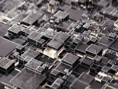 Abstract digital circuit chip square background. Technological concept. 3d rendering - illustration.