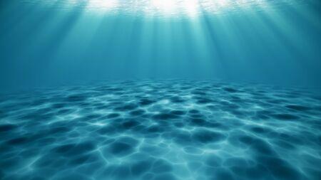 Bright blue ocean surface seen from underwater. Beams of sunlight shining through. 3d rendering - illustration.