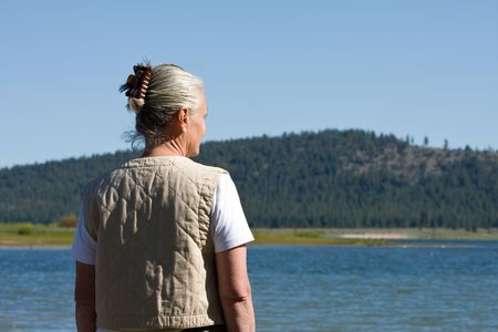 woman at lake Stock Photo