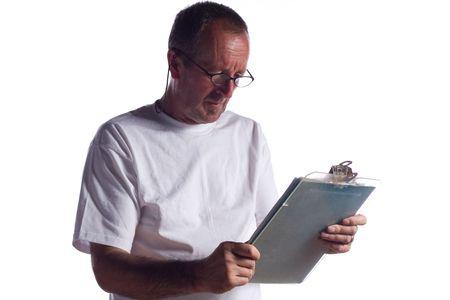 senior man with clipboard