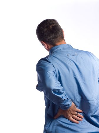 back ache: man with back pain