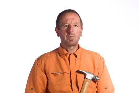 senior man with hammer Stock Photo