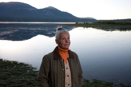 senior woman at lake