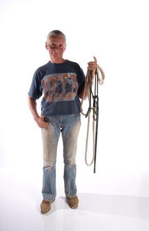 woman holding halter Stock Photo