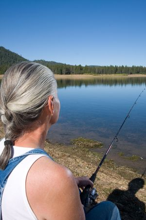 woman fishing Banque d'images