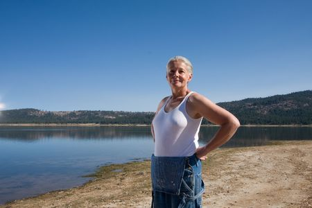 woman at lake Stock Photo