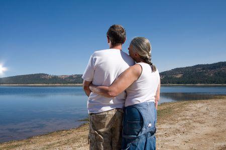 senior couple at lake Stock Photo