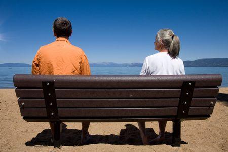 couple on bench Stock Photo - 3574657