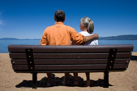 couple on bench Stock Photo