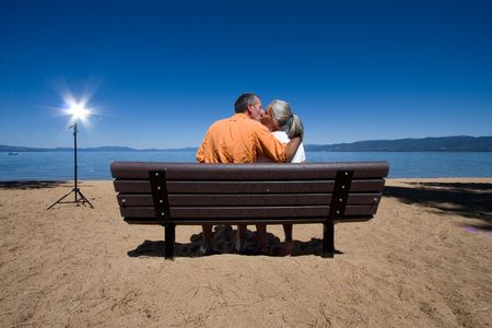 couple on bench Stock Photo - 3574659