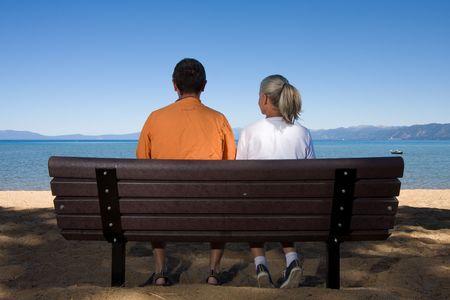 couple on bench Stock Photo - 3574649
