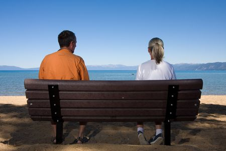 couple on bench Stock Photo - 3574651