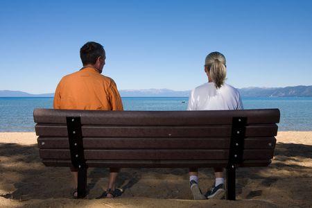 couple on bench Stock Photo - 3574651