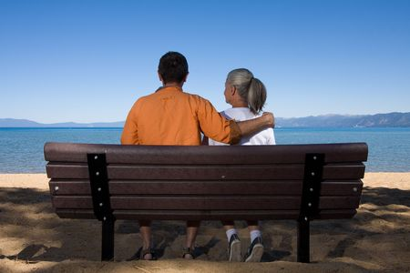 couple on bench Stock Photo - 3574653