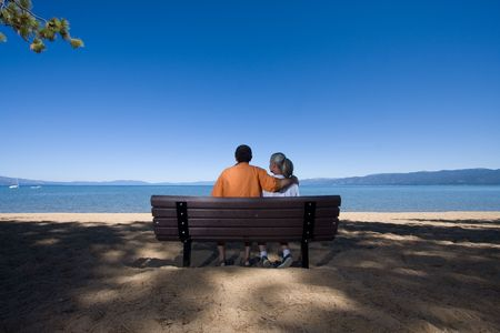 couple on bench Stock Photo - 3574650