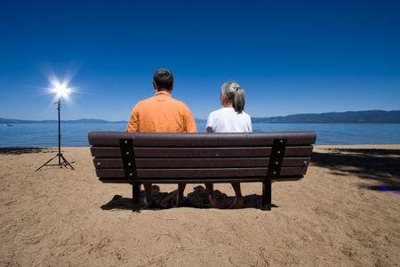 couple on bench Stock Photo