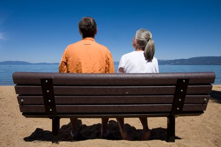 couple on bench Stock Photo - 3574656