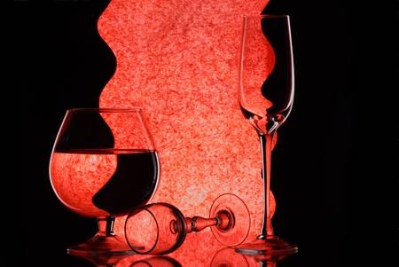 Three wineglasses on the mirror Stock Photo