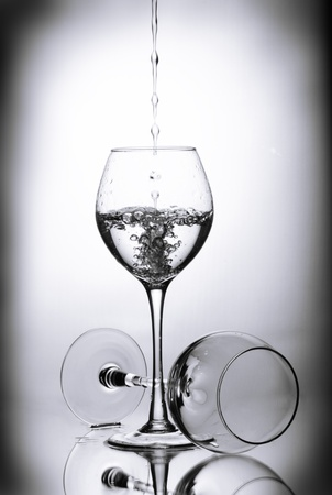 Two wineglasses and drops of water photo