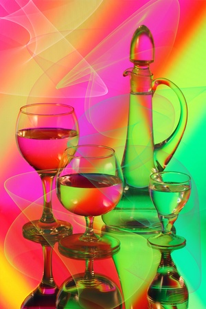 gentle dream vacation: Three wineglasses and a jug