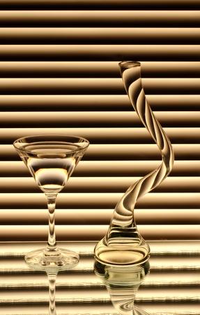 A borospohár és egy üres váza a tükör Stock fotó