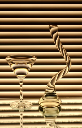A Wineglass And An Empty Vase On The Mirror Stock Photo Picture And