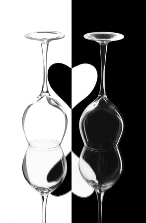 Creative composition with two wineglasses photo