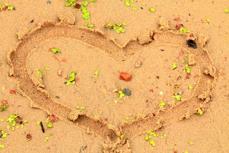 A heart made in the sand Stock Photo