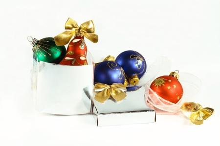 Many-colored Christmas balls Stock Photo