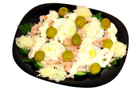 Christmas salad with common prawns Stock Photo