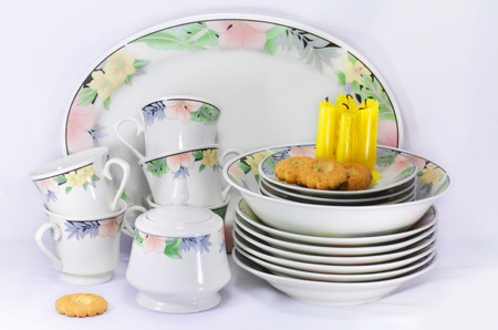 subtly: The dishes, candles and biscuits