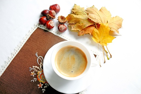 Cup of coffee in tne Autumn day Stock Photo - 12954378