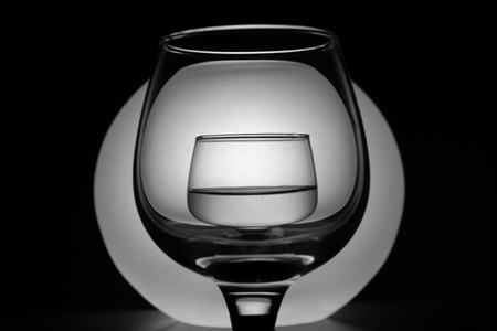 Creative composition with two wineglasses