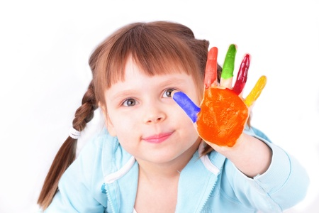 sincere girl: Little girl with colored hand