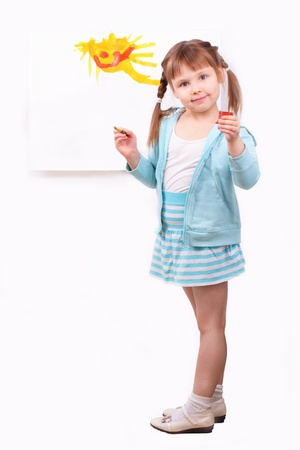 sincere girl: Little girl with her fun picture