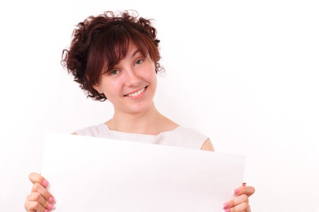 Beautiful young girl with a big piece of white paper Stock Photo - 13428169