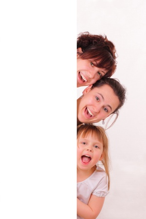 Three funny and happy girls photo