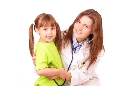 Young medical doctor woman inspects beautiful little girl photo
