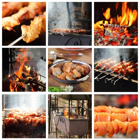 Cooking barbecue outdoors on a bright Summer day Banque d'images
