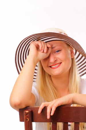 Cheerful blonde woman in a hat Stock Photo - 15891397