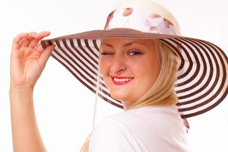 brim: Funny blonde woman in a hat