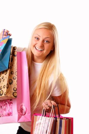 likes: Blonde woman likes shopping Stock Photo