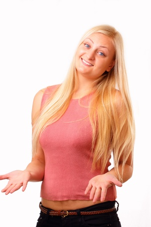 Happy blonde woman in red shirt Stock Photo - 16254071